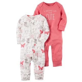"""Baby Girl Carter's 2-pk. Animal & """"I Woke Up This Cute"""" Coveralls"""