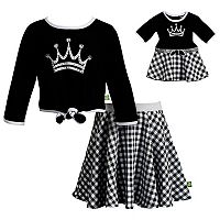 Girls 4-14 Dollie & Me Crown Knit Top & Plaid Skirt Set