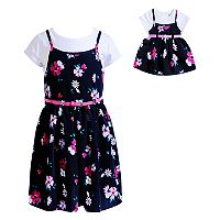 Girls 4-14 Dollie & Me Tee & Floral Slip Dress Set