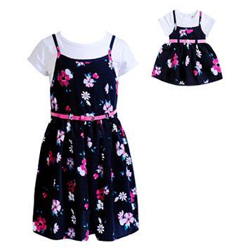 Girls 4-14 Dollie & Me Tee & Floral Slip Dress Set