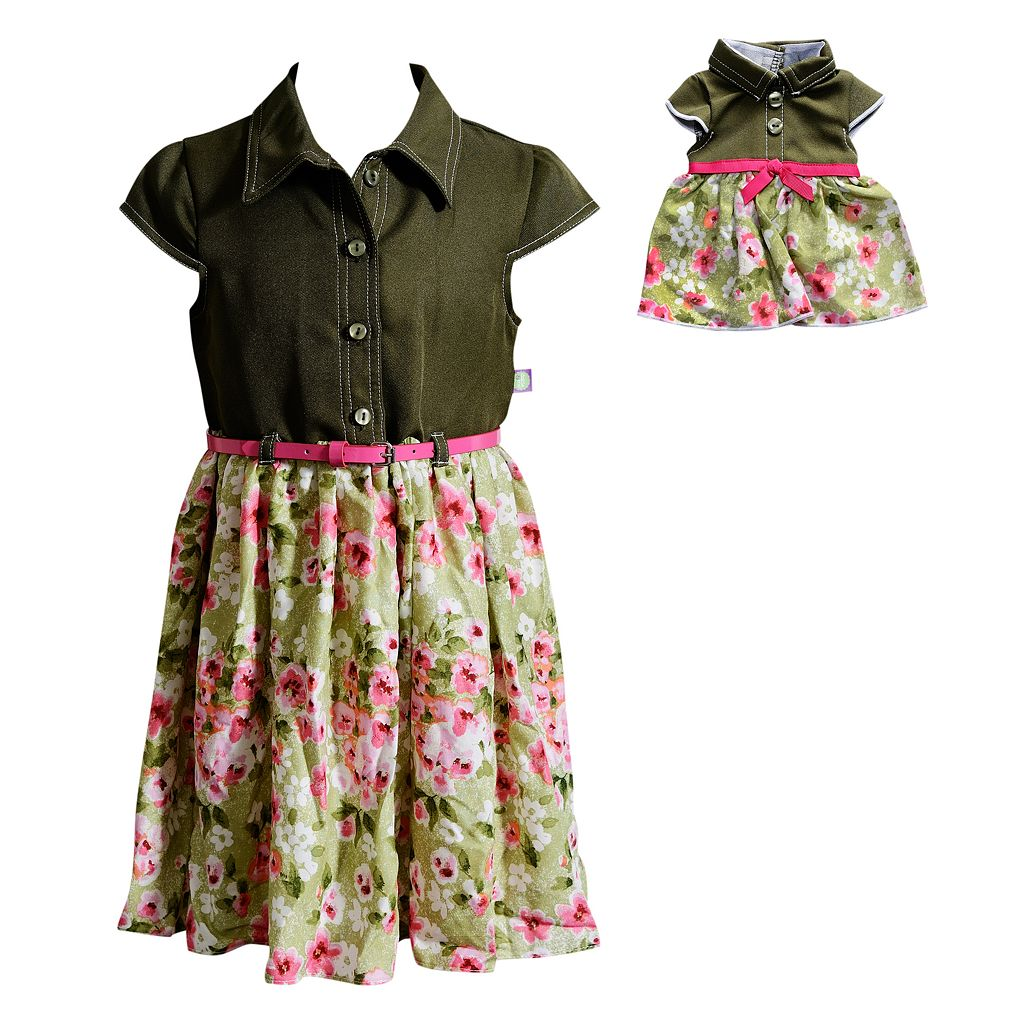 Girls 4-14 Dollie & Me Woven Fashion Dress With Belt