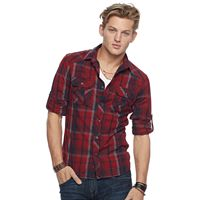 Men's Rock & Republic® Plaid Heathered Stretch Button-Down Shirt