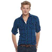 Men's Rock & Republic® Plaid Heathered Stretch Button-Down Shirt