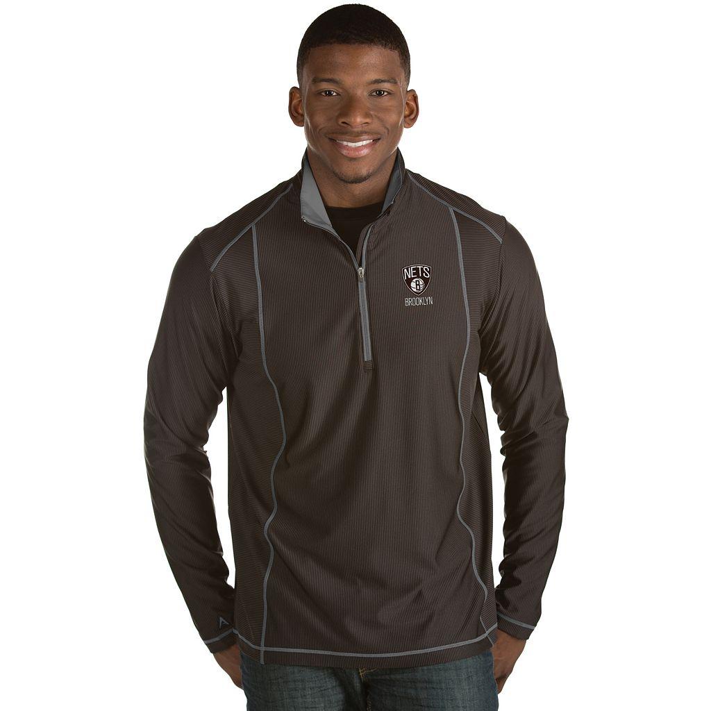 Men's Antigua Brooklyn Nets Tempo Quarter-Zip Pullover