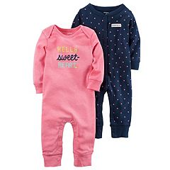 Baby Girl Carter's 2-pk. Polka-Dot & 'Hello Sweet-Heart' Coveralls