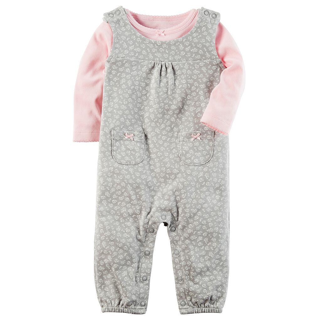 Baby Girl Carter's Tee & Floral Coverall Set