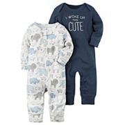 Baby Boy Carter's 2 pkAnimal 'I Woke Up This Cute' Babysoft Coveralls