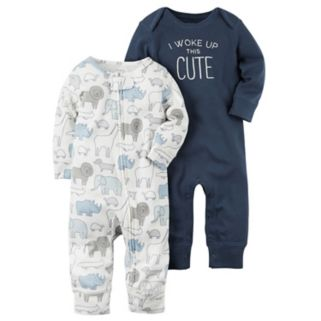 """Baby Boy Carter's 2-pk. Animal """"I Woke Up This Cute"""" Babysoft Coveralls"""