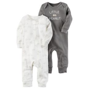 "Baby Carter's 2-pk. Elephant & ""Little Peanut"" Coveralls"