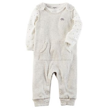 Baby Carter's Babysoft Elephant Coverall & Tee Set