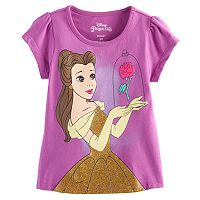 Disney's Beauty and the Beast Belle Girls 4-6x Glittery Graphic Tee