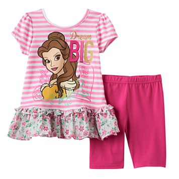 Disney's Beauty & the Beast Toddler Girl Belle Ruffle Top & Capri Leggings Set