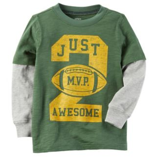 """Boys 4-8 Carter's """"Just 2 Awesome"""" Football Mock Layer Graphic Tee"""