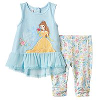 Disney's Beauty & the Beast Baby Girl Belle Tank Top & Floral Capris Set