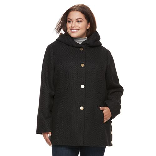 Plus Size Apt. 9® Faux-Wool Hooded Jacket