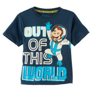 """Toddler Boy Curious George """"Out of this World"""" Astronaut Graphic Tee"""
