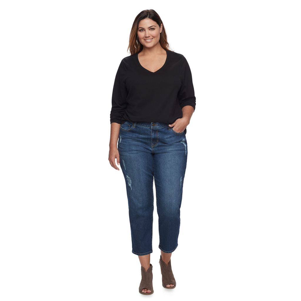 Plus Size SONOMA Goods for Life™ Distressed Boyfriend Jeans