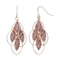 Pink Glittery Nickel Free Marquise Drop Earrings