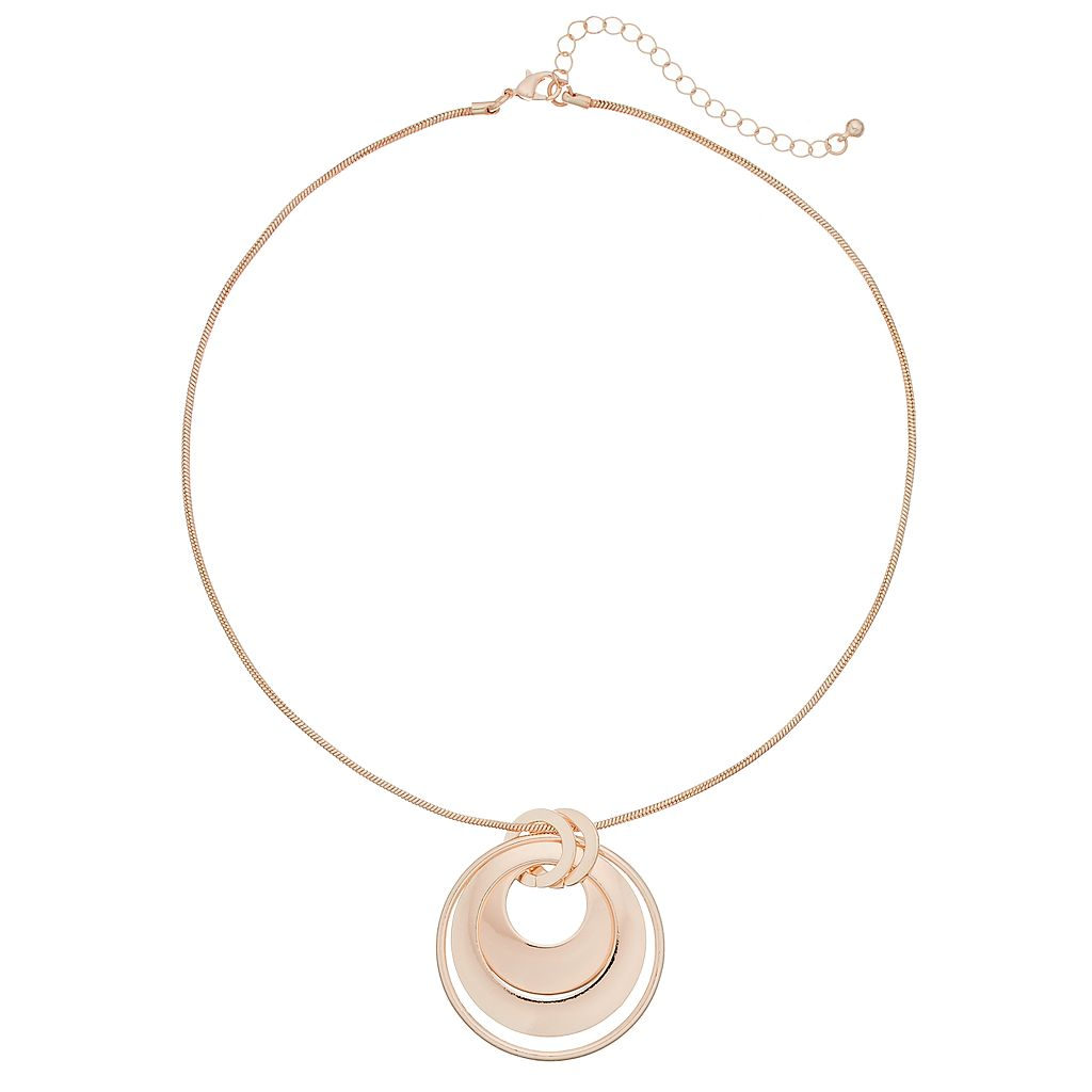 Concentric Circle Pendant Necklace