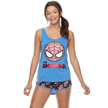 Juniors' Pajamas: Marvel Spiderman Tank & Shorts PJ Set