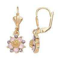 14k Gold Plated Purple & Pink Crystal Flower Drop Earrings