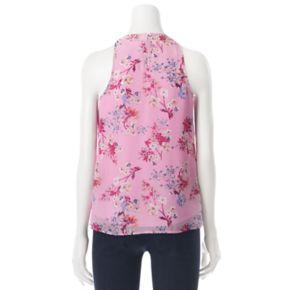 Juniors' Pink Rose Mock Neck Printed Woven Tank
