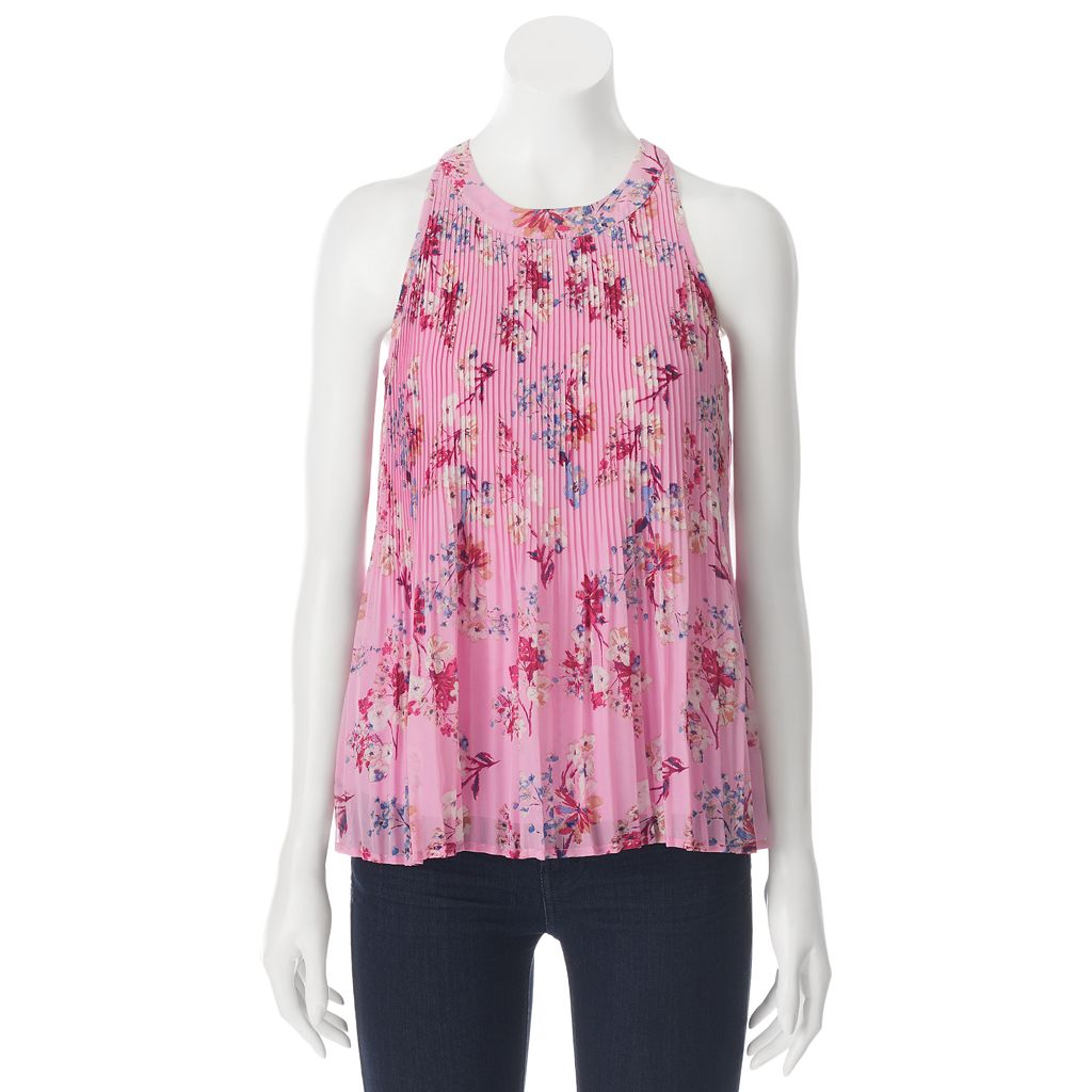 Juniors' Pink Rose Mock Neck Printed Woven Tank