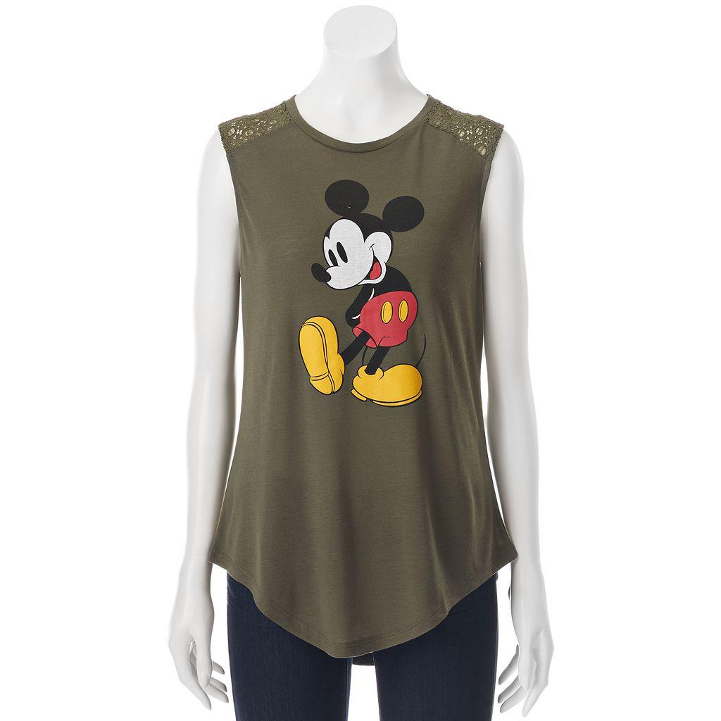 Disney's Mickey Mouse Juniors' Crochet Back Graphic Tank