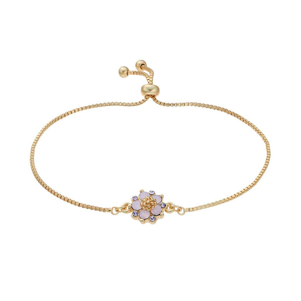 14k Gold Plated Crystal Flower Bolo Bracelet