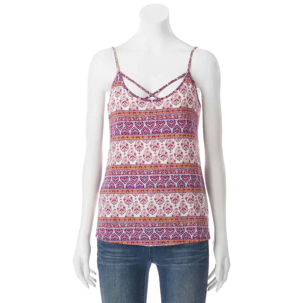 Juniors' Pink Rose Strappy V-Neck Tank