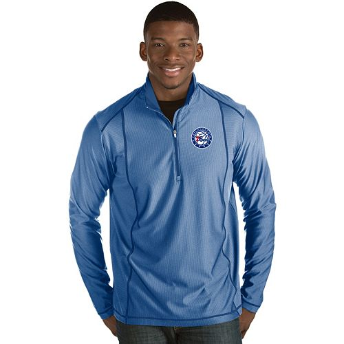 Men's Antigua Philadelphia 76ers Tempo Quarter-Zip Pullover