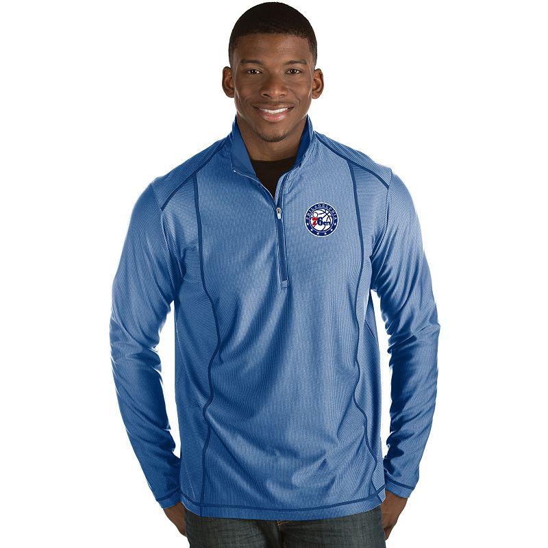Men's Antigua Philadelphia 76ers Tempo Quarter-Zip Pullover, Size: XL, Dark Blue