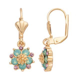 14k Gold Plated Green & Pink Crystal Flower Drop Earrings