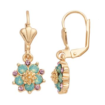 14k Gold Plated Green & Pink Crystal Flower Drop Earrings