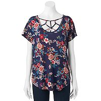 Juniors' Pink Rose Strappy Short Sleeve Top