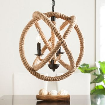 Maybrook 3-Light Rope Orb Pendant Lamp