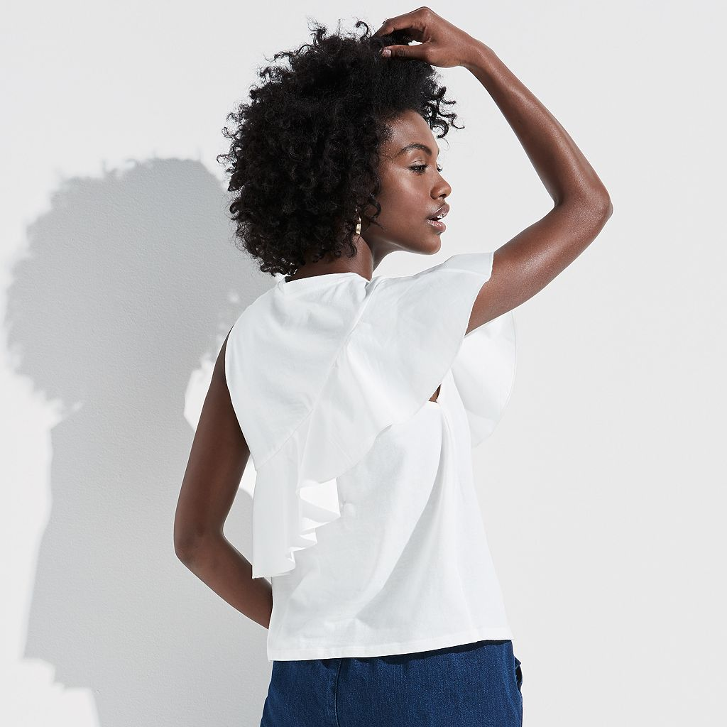 k/lab Asymmetrical Ruffle Top
