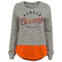 Juniors' Denver Broncos Mock-Layer Tee