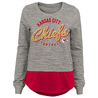 Juniors' Kansas City Chiefs Mock-Layer Tee