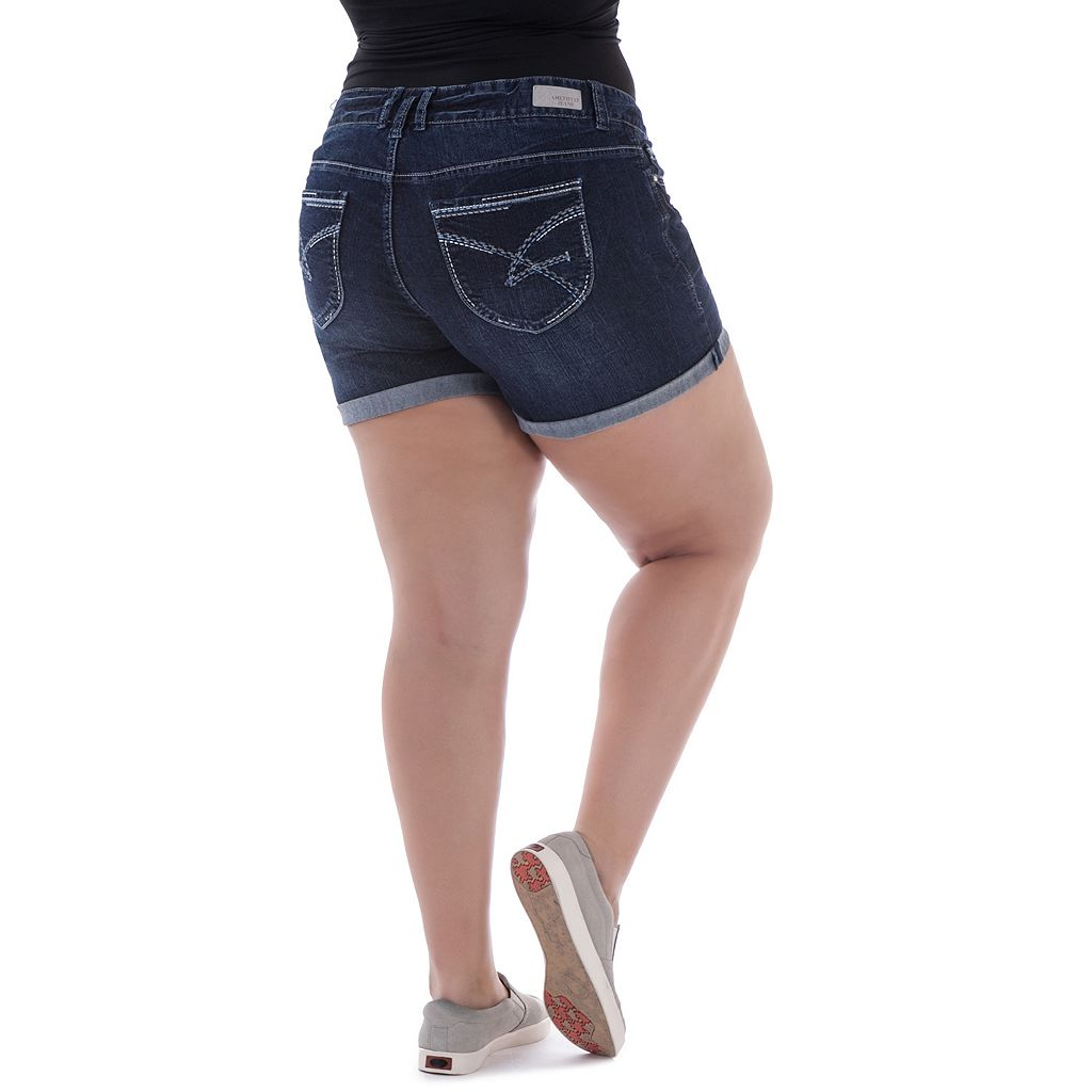 Juniors' Plus Size Amethyst Faded Denim Midi Shorts