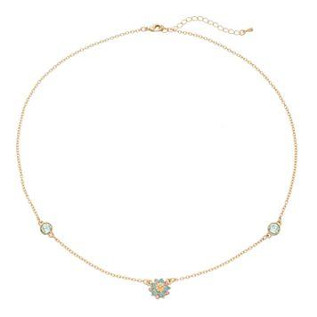 14k Gold Plated Crystal Flower Station Necklace