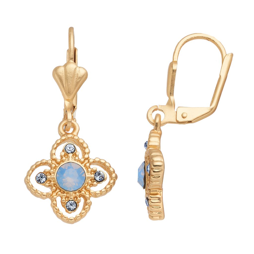 14k Gold Plated Blue Crystal Flower Drop Earrings