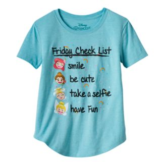 "Disney Princess Girls 7-16 & Plus Size ""Friday Check List"" Graphic Tee"