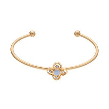14k Gold Plated Crystal Flower Cuff Bracelet