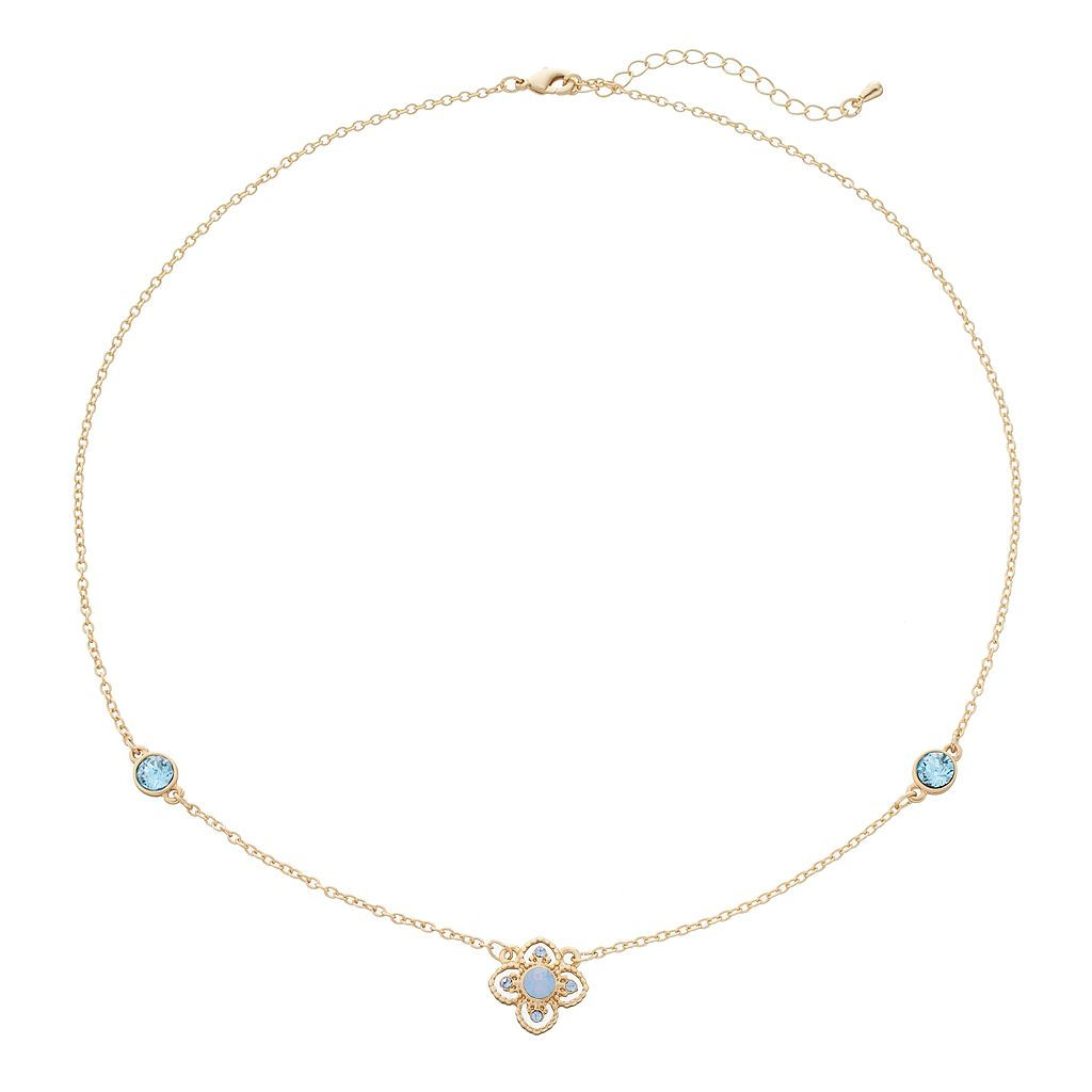 14k Gold Plated Crystal Flower Station Necklace