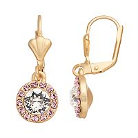 14k Gold Plated Crystal Halo Drop Earrings
