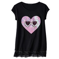 Girls 7-16 Miss Chievous Sequin Applique Lace Hem Tee