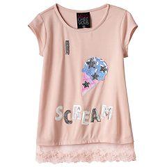Girls 7-16 Miss Chievous Sequin Applique Lace Hem Tee