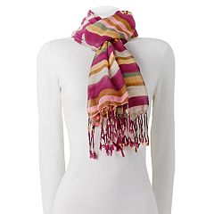 Chaps Painted Stripes Fringed Wrap Scarf