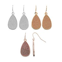 Glitter Nickel Free Teardrop Earring Set